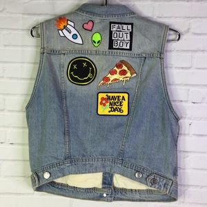 H&M Womens 14 Denim Jean Vest Patches Fall Out Boy
